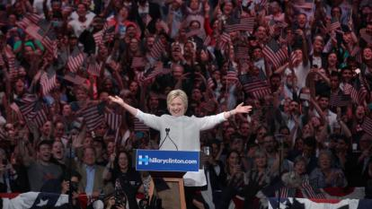NEW YORK, NY - JUNE 07: Democratic presidential candidate former Secretary of State Hillary Clinton speaks at the New Jersey primary night rally at The Brooklyn Navy Yard on June 7, 2016 in the Brooklyn Borough of New York City. (Photo by Steve Sands/WireImage)