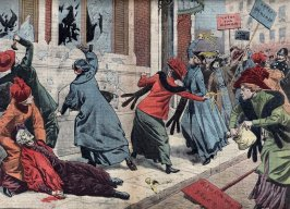 Suffragettes demonstration for the right of vote for women in London, England Illustration from Le pelerin 17th march 1912 private collection (Photo by Leemage/Corbis via Getty Images)